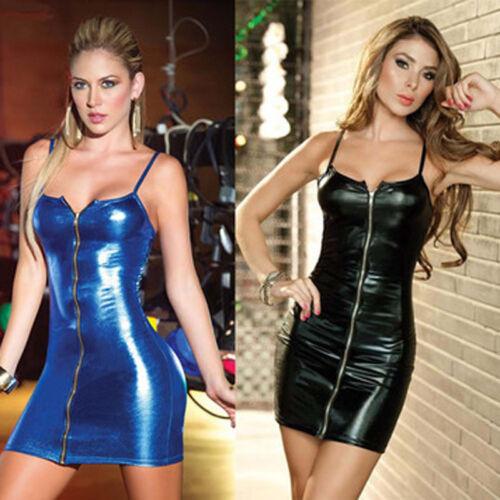 Neu Damen PVC Gothic Anzug WetLook Kunstleder Bodycon Party Mini Kleider