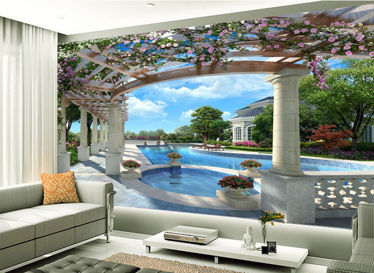 3D Flowers Pavilion Paper Wall Print Wall Decal Wall Deco Indoor Murals