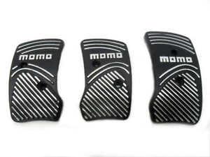 Momo Style Black Silver Aluminum Non Slip Gas Brake Pedal Pad Manual Car 3 PCS