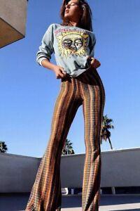 Usado En Excelente Estado Vida Clothing Co Jazzy Rayas Bohemio Flare Pantalones Parte Inferior De Campana Talla Xl Ebay
