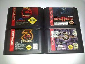 Genuine-Mortal-Kombat-1-2-3-Ultimate-Games-Set-x4-Sega-Genesis-NTSC-U