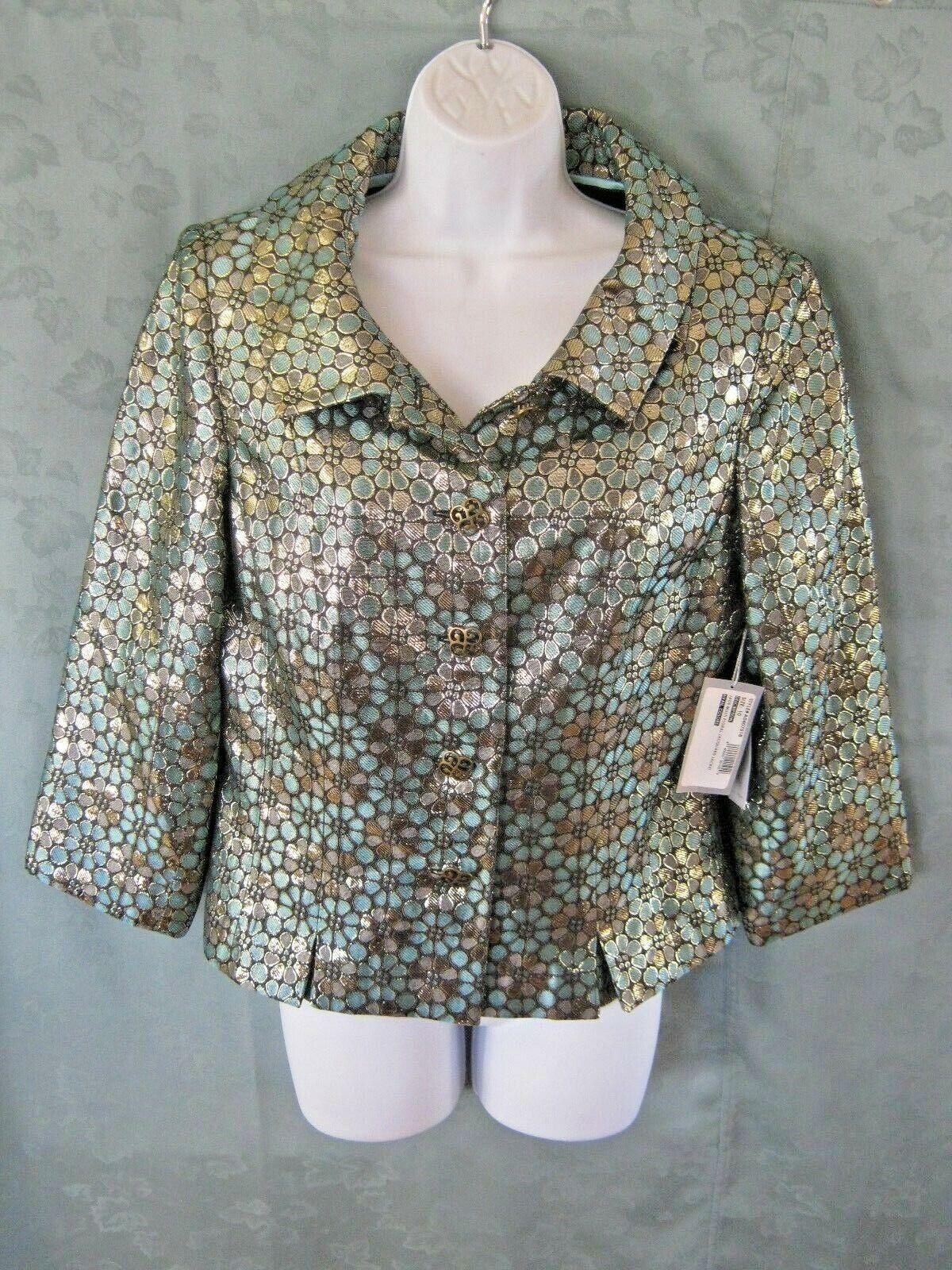 Bill Blass Size 10 Metallic Floral Jacquard Jacket NWT Dressy Fully Lined