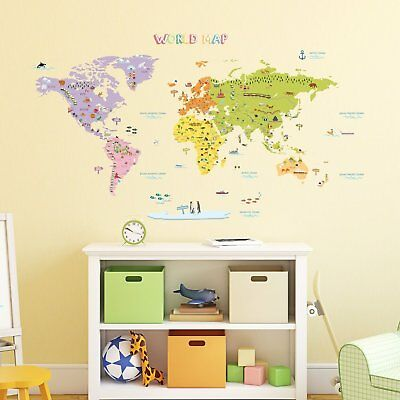 World Map Large Office Playroom Classroom Wall Decal Vinyl Sticker Art Decor G52