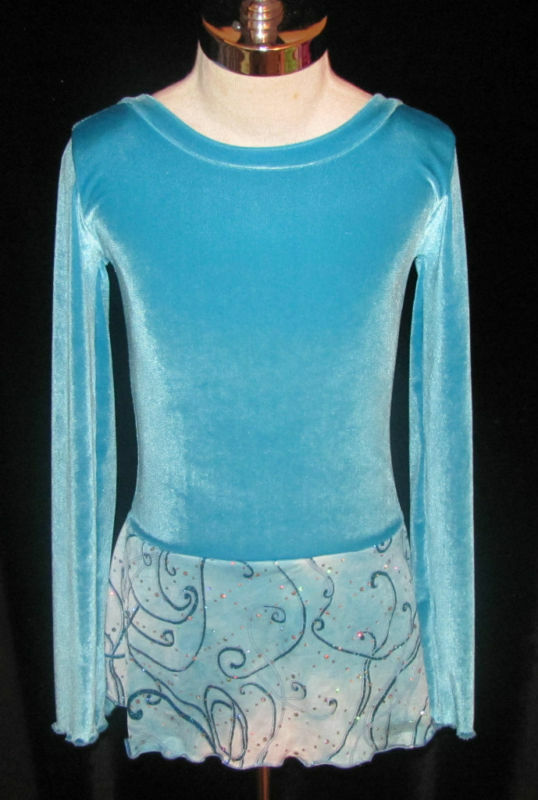 Turquoise bluee Ice Figure Skating Dress Girls X - SMALL 5   6   6X
