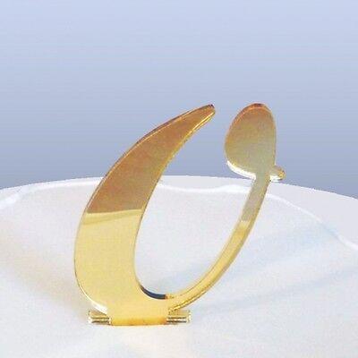 Numero 0 Script Bronzo Specchio In Acrilico Caketopper (circa 6cm-4cm Spike) Gratis P&p-