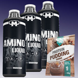 10-Ltr-Mammut-Aminoliquid-3-x-1000ml-Aminosaeuren-Amino-Liquid-20g-Pudding