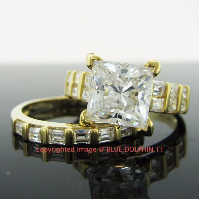 Genuine Solid 9ct Yellow Gold Engagement Wedding 2 Rings Sets Simulated Diamonds