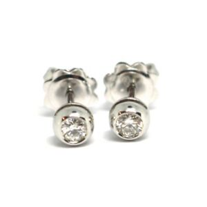 Boucles-D-039-Oreilles-or-Blanc-750-18k-Diamants-0-18-Carat-Monture-Ronde-Bush