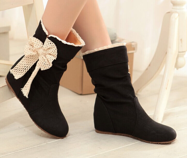 Ankle boot half until thigh summer with bow side heel nap of the earth schwarz