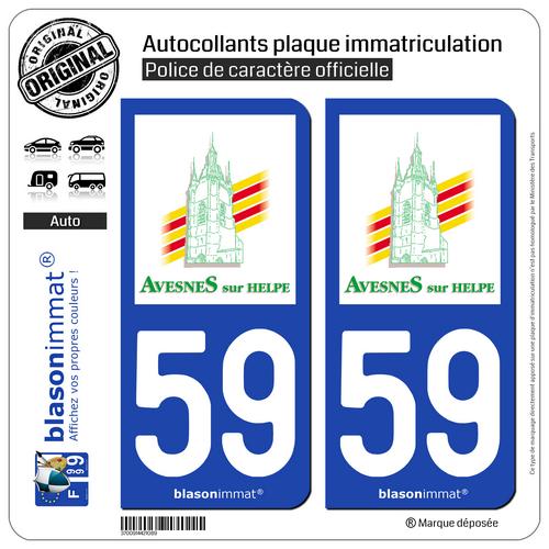 2 Autocollants Plaque D'immatriculation | 59 Avesnes-sur-helpe - Ville | 59440 Klanten Eerst