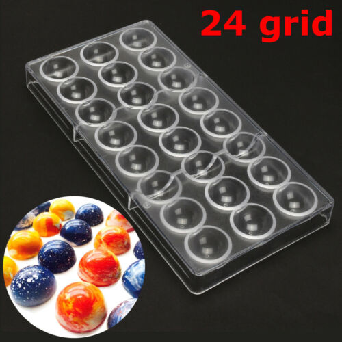 Clear Hard Chocolate Maker Polycarbonate PC DIY 24 Half Ball Candy Mold