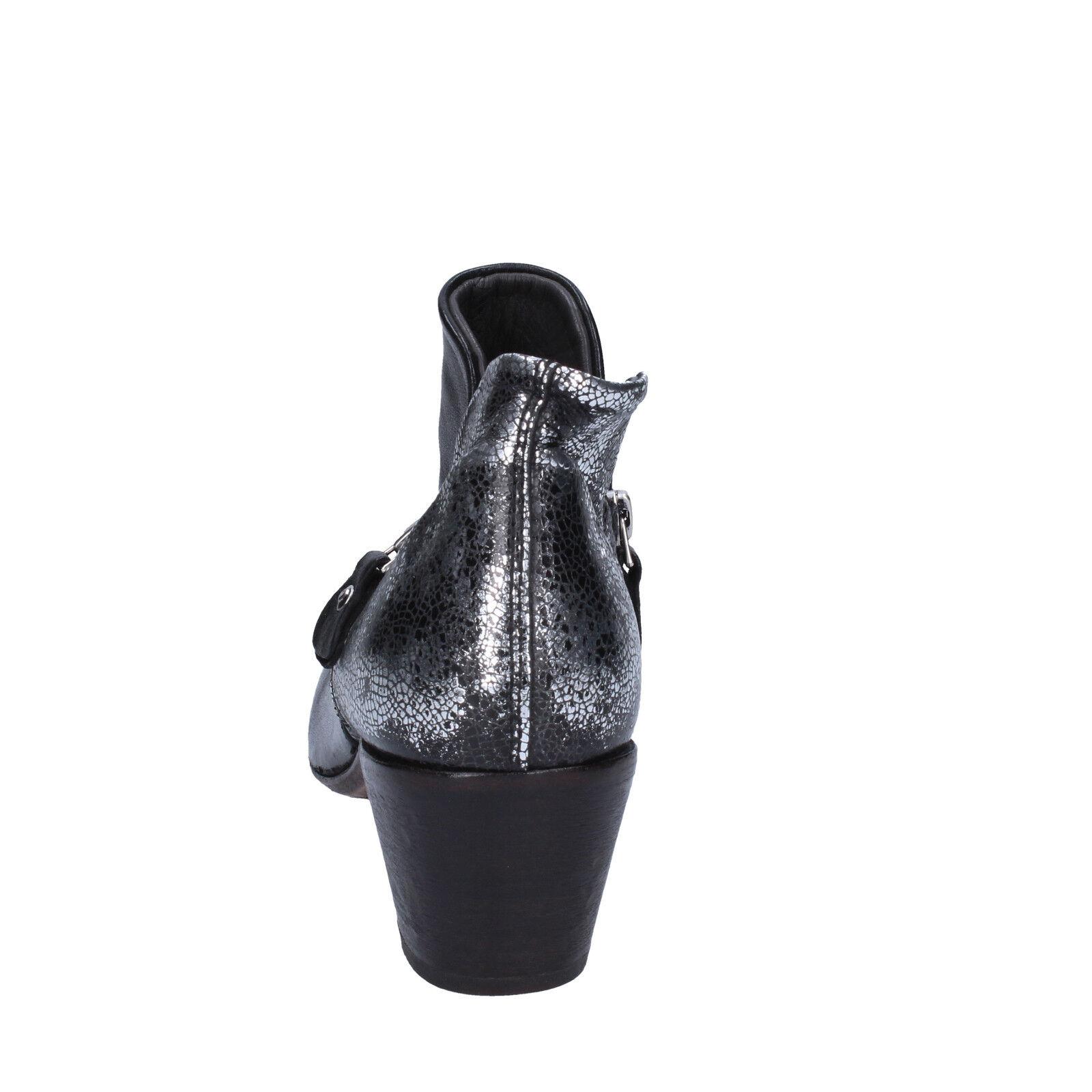 Damen schuhe MOMA BT38-35,5 35,5 EU stiefeletten silber schwarz leder BT38-35,5 MOMA 72a063