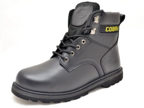 Cobra Men/'s Work Boot Genuine Leather C826 Black Available in Steel Toe