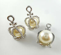 Crown Pearl Silver Plated Pearl Crown Charm Findings Q12 • 66280