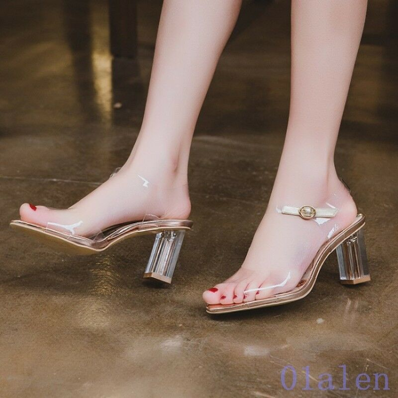 Womens Buckle Strap Square Open Toe Cut Out Block Heel Clear Sandals Clear 2018