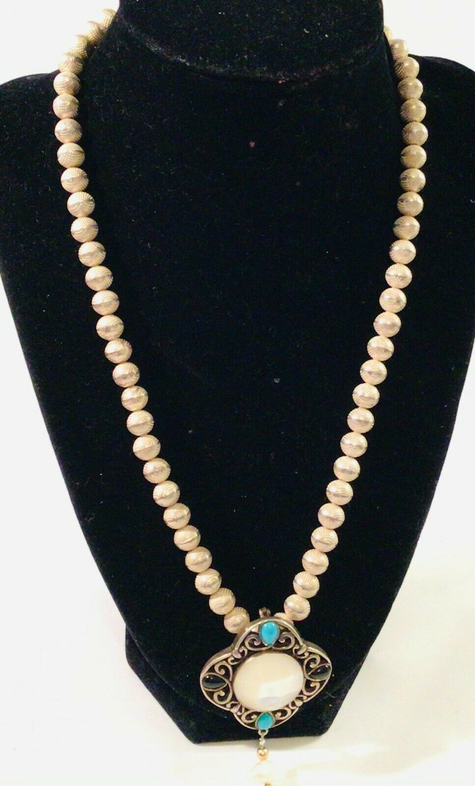 Vintage Antique Beads Beaded Gorgeous Chain Design Necklace 925 Sterling Silver NC 2158