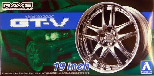 "Volk Racing GT-V 19/"" 5462 Aoshima 1//24 Rim /& Tire Set 71"