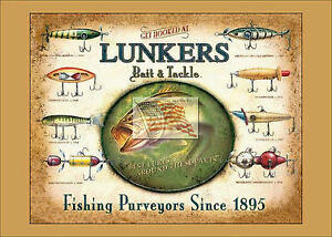 REPRINT PICTURE of fishing sign LUNKERS BAIT AND TACKLE with various lures 7x5