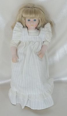 "Vintage Collectible 11""  Porcelain  & Cloth Doll Blonde Hair  - Un-Marked"