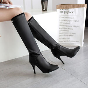 Womens-Zip-High-Heels-Pointed-Toe-Party-Knee-High-Boots-Shoes-EURO-Size-33-47