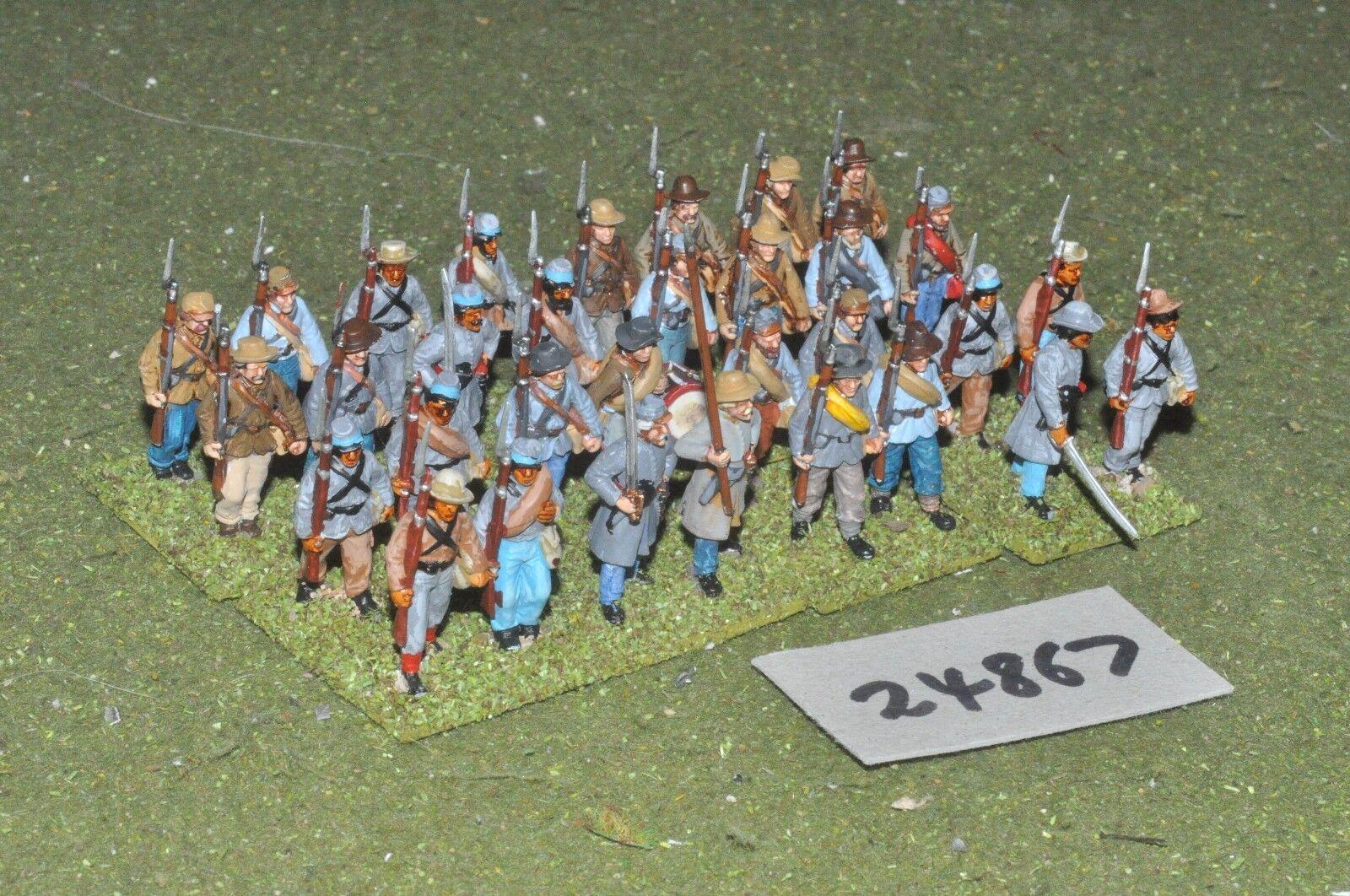 25mm ACW   confederate - regiment (plastic) 32 figures - inf (24867)