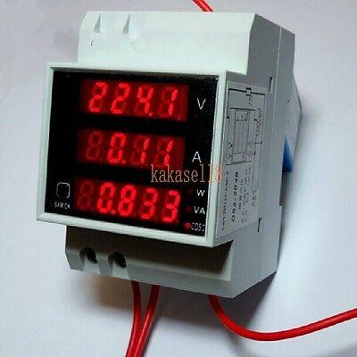AC 110V 220V Digital DIN RAIL100A watt power meter Ammeter voltage meter 80-300V