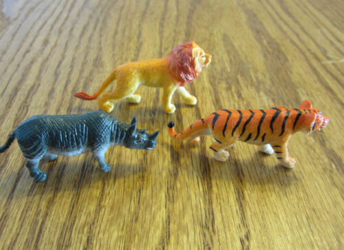"36 NEW ZOO ANIMALS 2/"" TOY PLAYSET WILD JUNGLE GORILLA ZEBRA TIGER LION SAFARI"
