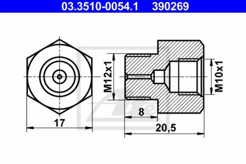 Adapter, Bremsleitung für Normteile ATE 03.3510-0054.1