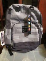 Minecraft Backpack Miner Gray Grey 16 Book Bag School Back Pack Licensed
