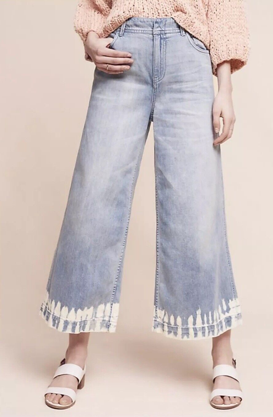 NEW Anthropologie Pilcro Culottes Bleach Hem Dip Dye High Rise Jeans Size 31
