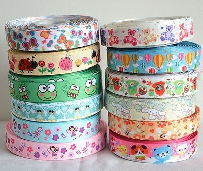 "Mixed Lot 12 yards 22mm 7/8"" Owl Bee Butterfly Bear Printed Grosgrain Ribbon KK4"
