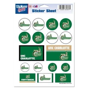 Unc Charlotte 49ers Vinyl Die Cut Sticker Set Decal Sheet Free