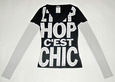 D&G DOLCE&GABBANA black silver t-shirt L'HIP-HOP C'EST CHIC donna 38 IT 24US XS