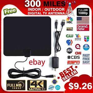 TV Antenna Digital HD TV Amplified Mile Ultra Thin 300 Miles Range Indoor 1080P
