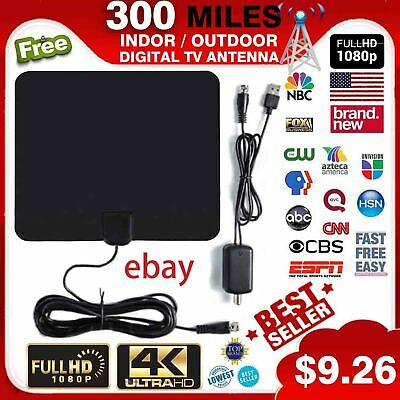 300 Mile Range Antenna TV Digital HD Skywire 4K Antena HDTV 1080p w// Amplifier