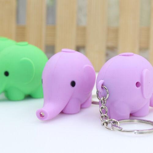 Cute Mini Elephant Shape LED Flashlight Key Chains Bag Pendant Accessories