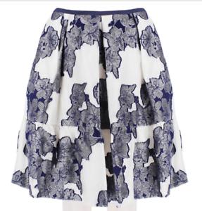 Erdem Pearlescent White Ink bluee Skirt UK10 (IT42)