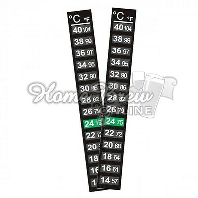 2 Pack LCD Thermometer Strip Self Adhesive Home Brew Wine Beer Aquarium UK MADE