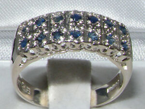 English-925-Sterling-Silver-Natural-Sapphire-Victorian-Style-Wide-Eternity-Ring
