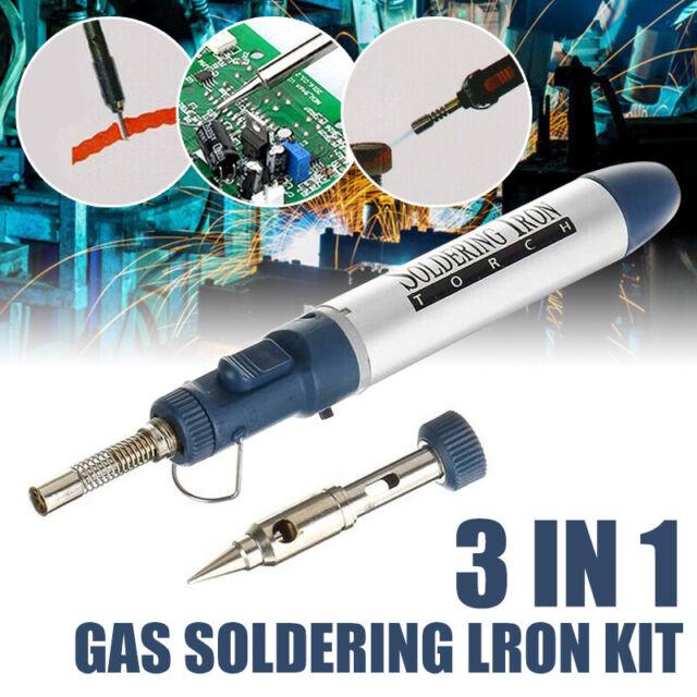 3 in1 Gas Soldering Iron Used Kit Butane Cordless Wireless Welding