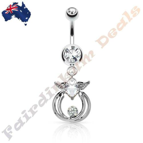 Clear Jewelled 316 Surgical Steel Belly Ring With Double Ring Angel Heart Dangle