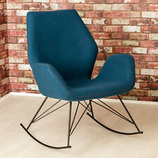 Bryce Designer Felt Rocking Chair / Unique Seat / Blue Modern Accent Chair / NEW