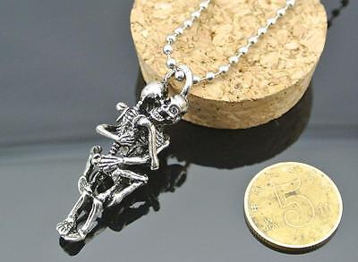 Men Infinity Tibet Silver Black Stainless Steel Skull Pendant Chain Necklace GOS
