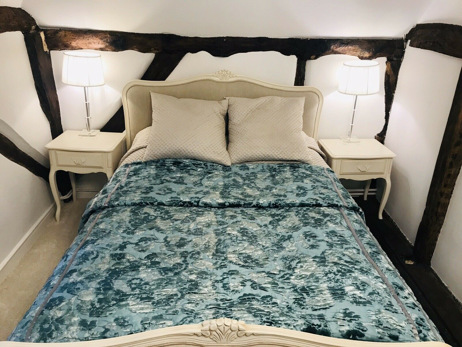 "Laura Ashley Teal Turquoise Blau Grün Bedspread Quilt Throw -92x216"" Velvet Mix"