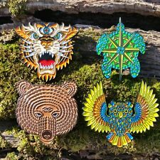 Spirit Animals all 4 pins - third eye bear owl terrapin tiger grateful dead lsd
