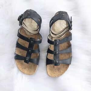 671eef33f75 Details about ugg sandals sechura black leather 6 gladiator Women's Shoes