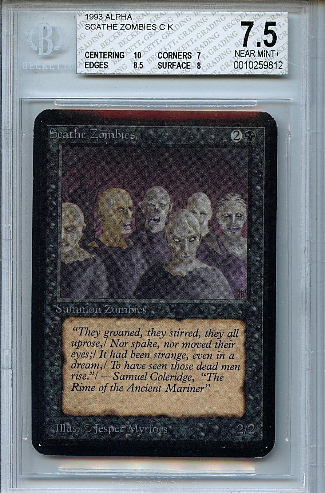 MTG Alpha Scathe Zombies BGS 7.5 NM+ magic card with 10 centering WOTC 9812