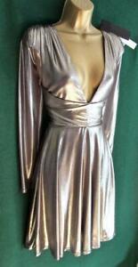 New-HALSTON-Heritage-Uk14-16-Gunmetal-Silver-Fit-amp-Flare-Drape-Mini-Cocktail-Dress