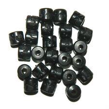 24 Hand Carved Ebony Wood Beads 3.5m Hole 10x10mm