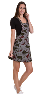 Women's Run & Fly80's 90's style dungaree dress incord with adventure dino print